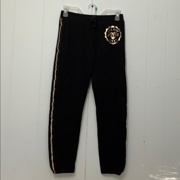 Justice Other - Justice gold trimmed sweatpants Sz 14